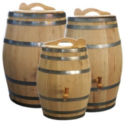 Wooden rain barrel