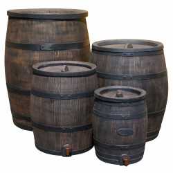 Synthetic wood look rain barrel